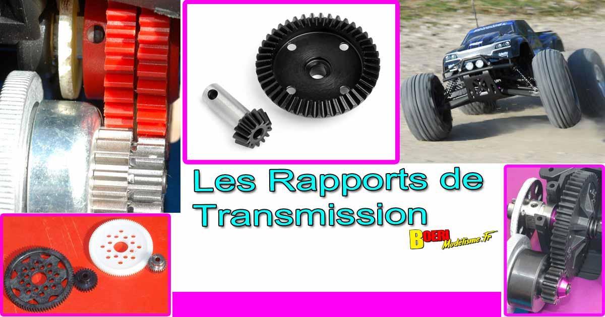 les rapports de transmission en voiture rc de modélisme avec calcul du ratio, 48 et 64 dp et incidence sur performances moteur et tenue de route
