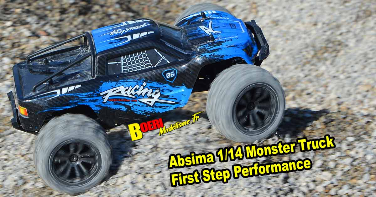 vidéo voiture abisma 1/14 monster truck first step performance électrique speed up to 35 km/heure